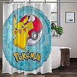 Wasserdichter, ungiftiger Duschvorhang, Pokémon, hohe Temperaturwiderstandsfähigkeit, bunte Duschvorhänge, langlebig, Badezimmer-Gardinen