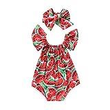 CiKiXZ Neugeborenes Baby Mädchen Bodys mit Wassermelone Aufdruck Strampler Overalls Baby Body Achselbody Sommer Baby Kleidung (Red, 12-18m)