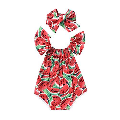 SCFEL Newborn bambina bambino U collo Watermelon Fruit Stampa Ruff la tuta Outfits + fascia 2pcs insiemi dei vestiti (6-12 mesi, Rosso)
