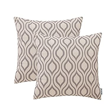 HWY 50 Grey Throw Pillows Covers For Couch Sofa Bed 18 x 18 inch, Pack of 2 Thicken Cotton Linen Printed Decorative Throw Pillows Cases, Gray Geometric Rhombus Cushion Covers