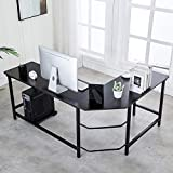 Ulikit Modern L Shaped Computer Desk Corner Gaming Desk Computer Table Workstation Office Wood Top Desk Black 66' x 49' x 29'