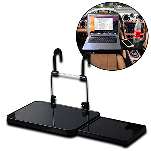 Zento Deals Sturdy Portable and Foldaway Vehicle Multi Tray- Black Multipurpose Car Seat Tray Desk Tray Folding Portable Car Seat Tray- Convenience Food, Drinks and Laptop Holder