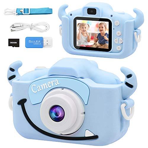 DIEYING Cámara para Niños Juguete para Niños, Cámara Digital para Niños pequeños con Tarjeta de Memoria SD 32GB, HD 1200 MP/1080P Cámara Autofoto de Doble Lenteniños 3-10 Años Niñas Regalos (Azul)