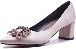 BalaMasa Womens Studded Nubuck Beaded Urethane Pumps Shoes APL11034