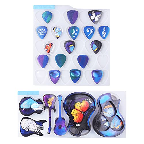 LET'S RESIN Guitar Pick Resin Molds, Guitar Triangle Plectrum Resin Molds Silicone & Guitar Pick Case Molds for Resin Casting, Epoxy Resin Molds for Musical Accessories, Keychain, Necklace, Decoration