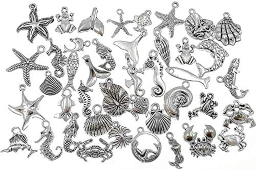 Kinteshun Marine Creatures Sea Animals Fishes Shells Charm Pendant Connector for DIY Jewelry Making Findings(40pcs,Antique Silver)