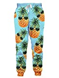 Custom Floral Graphic Prints Joggers Pants Fall Winter Hiking Running Sweatpants Humorous Pineapple with Sunglasses Big Thighs Tapered Flex Leisure Suit Slacks with Elastic Waist