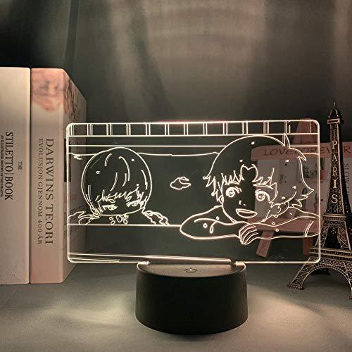 Lámpara de ilusión 3D Luz de noche LED Anime Devilman Ryo Asuka X Akira Comida completa Luz de dormitorio Noche Niños Regalo de cumpleaños Lámpara de mesa Lámpara de manga Devilman