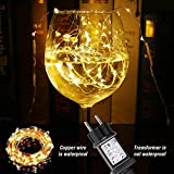 LE 12M LED Lichterkette Draht aus Kupferdraht, 100 LEDs, Wasserdicht IP65, Strombetrieben, ideal Stimmungslichter für Weihnachtsdeko Innen Außen Weihnachten Party Hochzeit usw. Warmweiß - 3