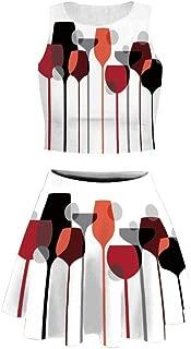 Eye Women's 3D Graphic Print Crop Tank Top and Mini Flared Skater Skirts Set for Teen Girls,Light Ye
