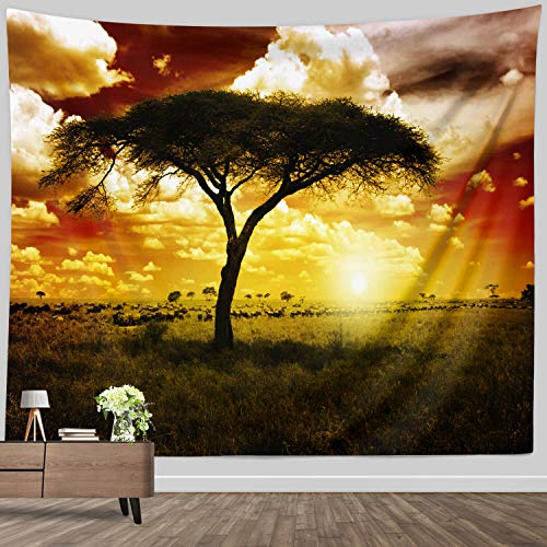 Landscape Wall Tapestry King Size, African Tree and Wildlife Tapestry Wall Hanging Fabric Decor for Living Room Wall Art Blanket Sunset , 71 x 90