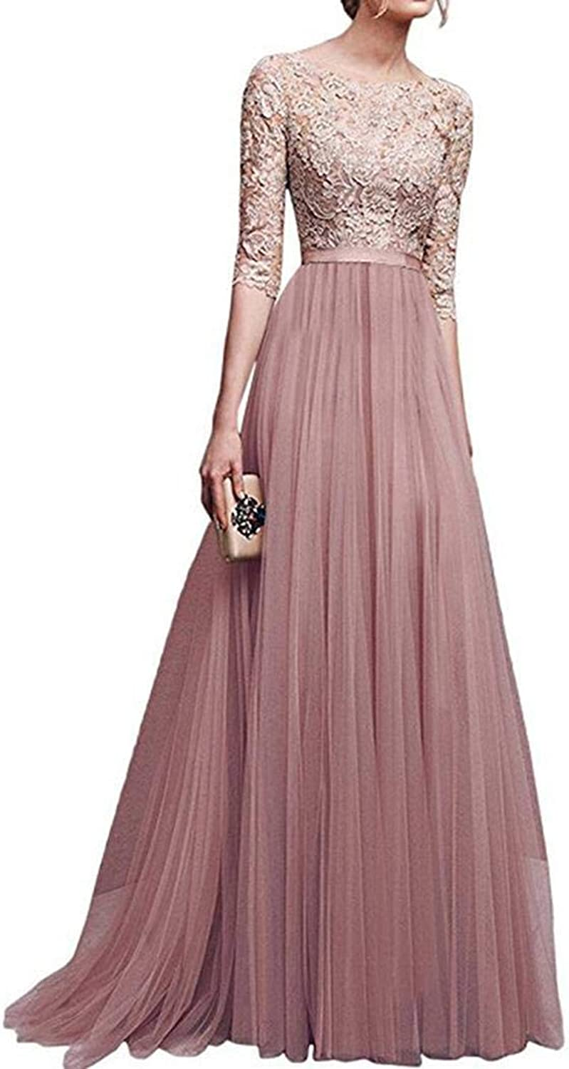 Kizaen Women Lace Floor Length Pleated Dress Wedding Cocktail Ball Gown Apricot