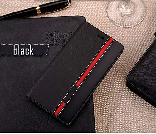 Mobi Case™ Pu Leather Designer Slim Fit Wallet Flip Cover with Card Slot/Kick Stand (Black&Red) for LG V30+