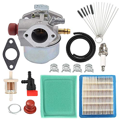 Hayskill 640025 640004 Carburetor w Air Filter Tune Up Kit for Tecumseh OHH45 OHH50 OHH55 OHH60 OHH65 Engine Lawn Mower Carb Replace 640117B 640014 640017B 640117