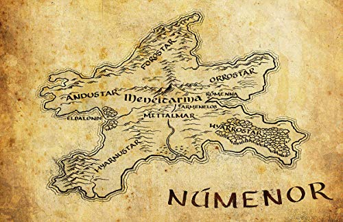 Númenor Map from The Lord of the Rings and The Hobbit Middle Earth Poster Print (11x17 inches)