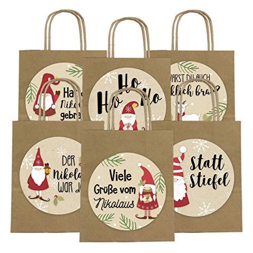 6 Geschenktüten zum Nikolaus 18cm x 22.5cm x 8cm mit XXL Stickern - Verpackung zum Nikolausfest - Nikolaustüte - Henkeltüte Motiv Wichtel