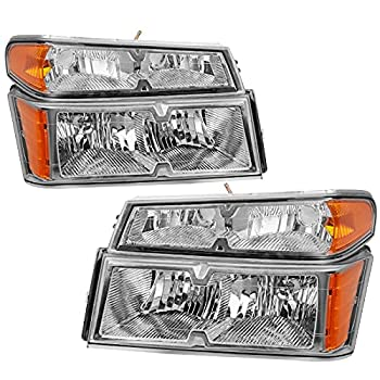 AUTOSAVER88 Headlight Assembly Compatible with 2004-2012 Chevy Colorado/GMC Canyon Chrome Housing with Amber Reflector + Bumper Lights