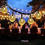 DeepDream Solar Lichterkette Aussen 40LED 7.5M Kristall Kugeln 8 Modi Warmweiß, Außenlichterkette Wasserdicht Deko für Garten, Bäume, Weihnachten, Hochzeiten, Partys[Energieklasse A++]