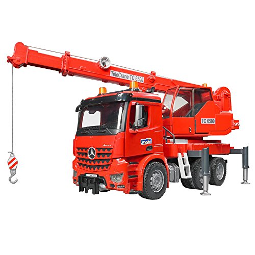 Bruder 03670 MB Arocs kran-vrachtwagen met Light and Sound Module, rood