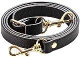 SeptCity Top Quality Grain Leather Adjustable Shoulder Straps -1.8 CM Width(20 Color)(Black)