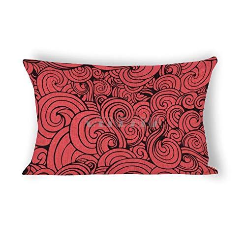 happygoluck1y - Funda de cojín rectangular con diseño de ondas abstractas y temática océana (30 x 50 cm, algodón), diseño de ondas abstractas con cremallera, para salón, sofá, sofá, decoración del hogar