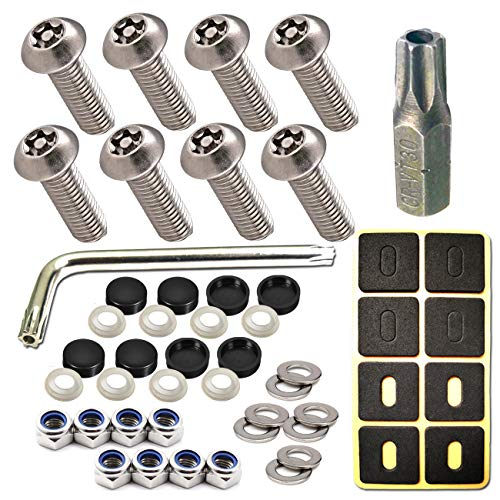 License Plate Screws Anti Theft - 8 PC Button Head Torx M6 3/4' Stainless Steel Tamper Resistant Machine License Plate Bolt License Plate Frame Fastener and Black Caps for Acura, Audi, Tesla etc