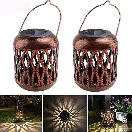Laternen für Draußen, Garten Solarleuchten Hängelaterne für Dekorative Solarbetrieben LED Laterne Wasserdicht IP65 Gartendeko Solarleuchten Warmweiß Gartenlaterne für Innenhof(2-Pack)