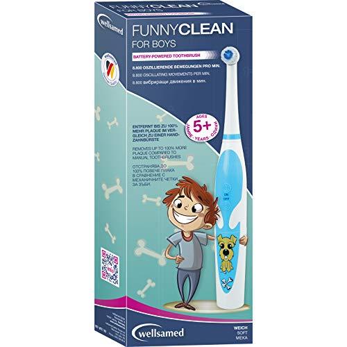 wellsamed Funnyclean for Boys elektrische Kinderzahnbürste for Kids Batterie-Zahnbürste Kinder Zahnbürste Jungen blau Hund, 1 Stück