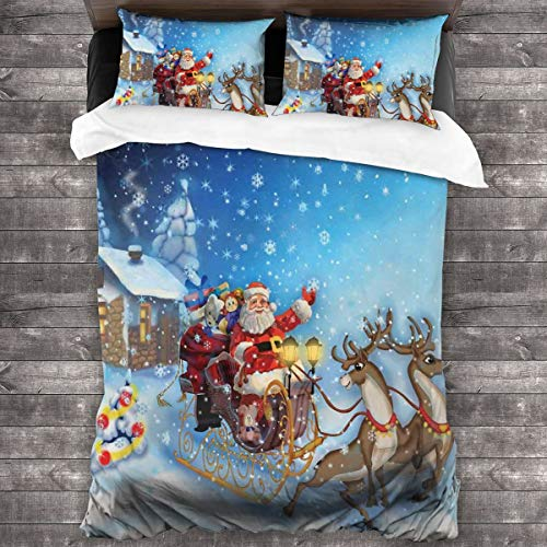 LISNIANY Soft Duvet Cover Quilt Bedding Set With Pillowcases,Santa In Sleigh With Reindeer And Toys In Snowy North Pole Tale Fantasy Image,Microfiber quilt 135x200cm