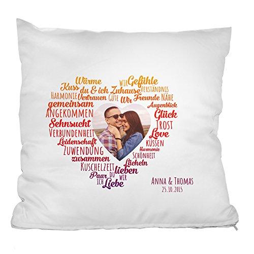 Personello® Fotokissen mit Herz Motiv, Kissen mit Foto, Namen und Datum (personalisierbar), Kissenbezug (40x40) mit Füllung, Geburtstagsgeschenk für die Freundin, Fotogeschenk, Geschenk zum Jahrestag