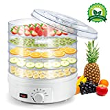 Lebensmittelentwässerungsgerät, Brand Electric Dehydrator Machine, 5 stapelbare Tabletts, einstellbarer Thermostat 35-70 ?, Obst-Gemüse-Dörrgerät, BPA-frei, 350W