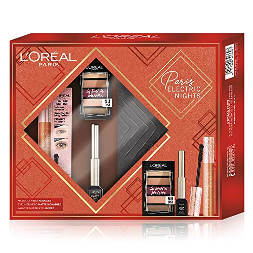 L'Oréal Paris Cofanetto Regalo Donna Natale in Edizione Limitata Paris Electric Night, Mascara Volumizzante Paradise Extatic, Eyeliner Nero Matte Signature e Palette 5 Ombretti Nude, Pochette 3 Pezzi
