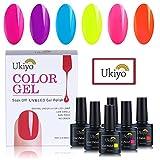 Ukiyo Smalto Semipermanente Smalto per Unghie per Colore Fluorescente 6pcs UV LED Gel Polish Nail Art 10ml di Ukiyo