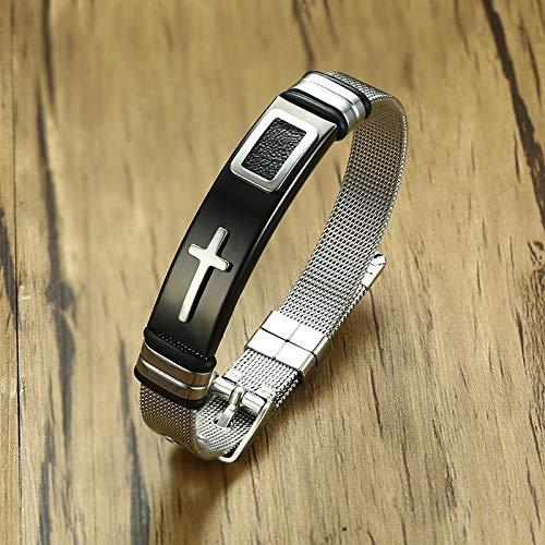 JINKEBIN Pulsera de longitud ajustable para mujeres y hombres, diseño de banda de acero inoxidable, con cruz de Cristo, joyería masculina (color de metal: negro y plateado)