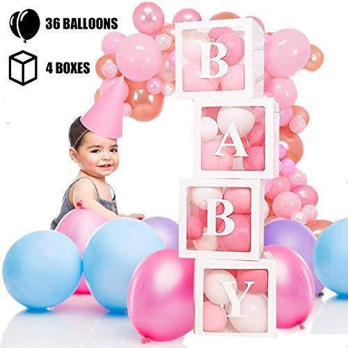 LAOZHOU - Scatole da Doccia per Bambini con 36 Palloncini, quadrate, Trasparenti, con Lettere per Bambina, per Feste a Tema, Compleanni, Baby Shower