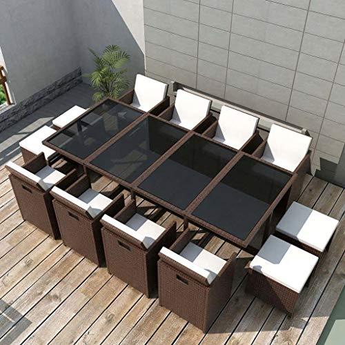 Nyyi - Conjunto de muebles de jardín (estructura de acero y ratán sintético, mesa de cristal, sillas de comedor y mesa de jardín con 1 mesa de jardín, 8 sillas y 4 taburetes de sofá), color marrón