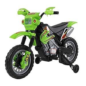 HOMCOM Moto Electrica Infantil Bateria 6V Recargable Niños 3 Años Cargador y Ruedas Apoyo Color Verde