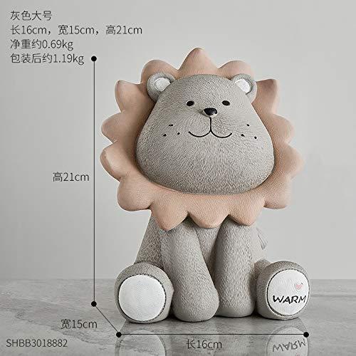feiren Hucha de león, diseño de dibujos animados, para niños, hucha de niños, caja de ahorro, figura de animales para el hogar (color: gris león grande)