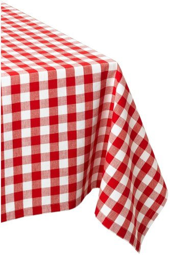 DII Checkered Collection Tabletop, Tablecloth, 52x52, Red