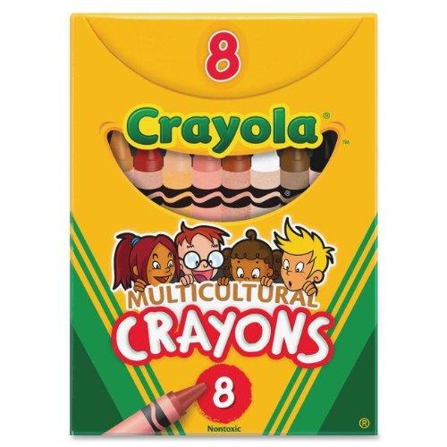 Crayola Multicultural Crayons,Crayon Size: 3.62' x 0.31' - Wax Color: Black, Sepia, Peach, Apricot,
