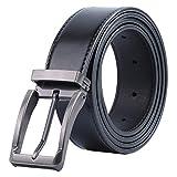 [Mandiva] ベルト メンズ 本革 ブラック サイズ調整可能 カジュアル ギフトボックス付 (タイプ02-ブラック, 115cm)