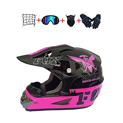 BHGJ Casco Motocross Niño,Diseñado con FOX Cascos De Motocross Cascos de Cross de Moto Set con Gafas Máscara Guantes(FOX,rosado) (M)