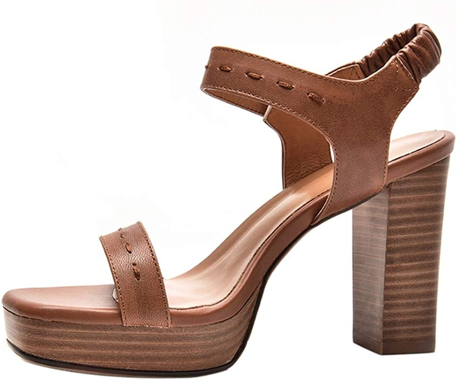 Sandals High Heel Velcro Waterproof Platform Roman shoes Summer Open Toe shoes (color   Brown, Size   37)