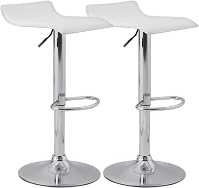 KYOTECH Set of 2 Adjustable Swivel Barstools, PU Leather Kitchen Breakfast Counter Chairs, White