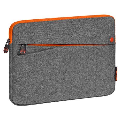 Pedea Tablet PC Tasche Fashion für 10,1-11 Zoll (25,6-27,96 cm) Schutzhülle Etui Hülle mit Zubehörfach, grau/orange