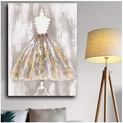 un known Poster Bilder Modern Dress Art Ölgemälde auf Leinwand Custom Print mit Handfarbe Wanddekoration Bild für Wohnzimmer Home Decoration Geschenk 7,8x11,8in (20x30cm) x1psc No Frame