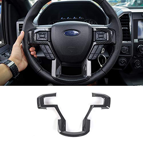 Keptrim for F-150 ABS Carbon Fiber Steering Wheel Cover Trim for 2015-2019 Ford F150, for 2017-2019 F250 F350