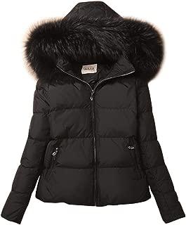 ACE SHOCK Women's Down Coats with Fur Hood, Warm Short Puffer Jacket Slim Fit Winter Parka