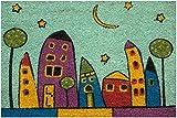 Zerbino da Esterno in Cocco con Base in PVC Dipinto a Mano Raffigurante Villaggio Notte 60X40X2 cm. Facile da Pulire e Ultraresistente