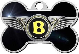 KHKHBKS Zinc-Alloy Custom 3D Print Bentley Logo Pet ID Tags Personalized Front and Back Bone Shape Dog Tags & Cat Tags